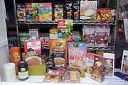 Health food shop window display of cereal products