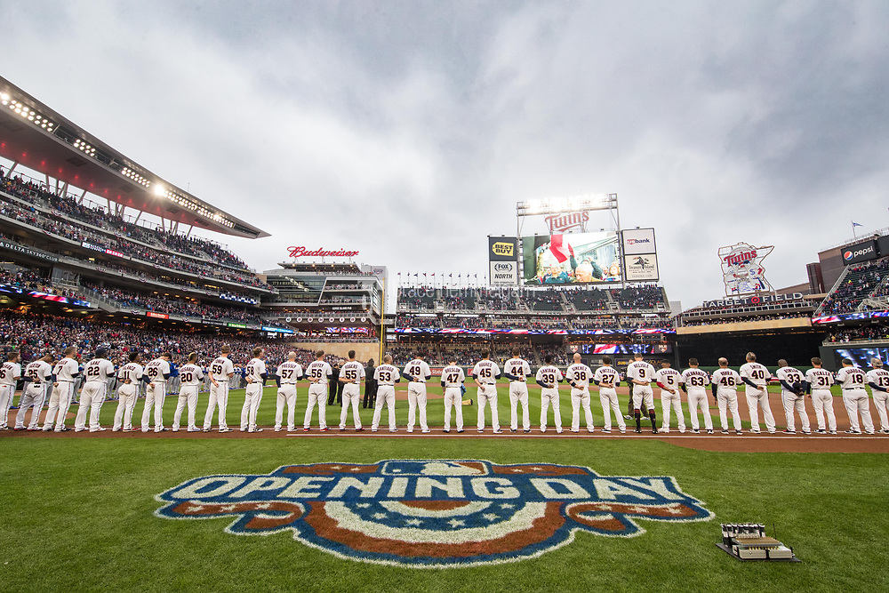 MINNEAPOLIS, MN- APRIL 3: The Minnesota Twins line up during the national anthem prior to the game against the Kansas City Royals on April 3, 2017 at Target Field in Minneapolis, Minnesota. The Twins defeated the Royals 7-1. (Photo by Brace Hemmelgarn) *** Local Caption ***