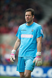 WREXHAM, WALES - Monday, May 7, 2012: Luton Town's goalkeeper Mark Tyler in action against Wrexham during the Football Conference Premier Division Promotion Play-Off 2nd Leg at the Racecourse Ground. (Pic by David Rawcliffe/Propaganda)