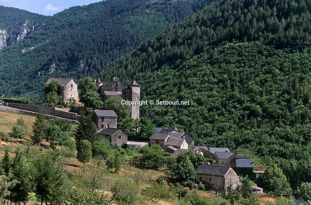 Prades castle and Tarn river Canyon   Cevennes. landscape .