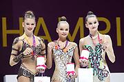 Arina Averina (gold) Alexandra Soldatova (silver) from Russia and Alina Harnasko (belarus), on podium during the 33rd European Rhythmic Gymnastics Championships at Papp Laszlo Budapest Sports Arena, Budapest, Hungary on 21 May 2017. Her twin Arina took Gold. Photo by Myriam Cawston.