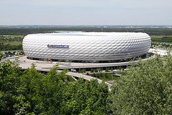13.05.2012, Allianz Arena, Muenchen, GER, UEFA CL, Allianz Arena, im Bild Allianz Arena Muenchen wird anlaesslich des Finales um die UEFA Champions League umdekoriert und umbenannt; Schriftzug UEFA Champions League an der Fassade des Stadions // the Allianz Arena in Munich is the occasion of the UEFA Champions League Final at the redecorated and renamed, UEFA Champions League logo on the facade of the stadium, Munich, Germany on 2012/05/13. EXPA Pictures © 2012, PhotoCredit: EXPA/ Eibner/ RR     ATTENTION - OUT OF GER *****
