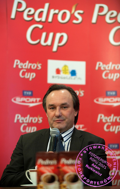 JACEK KAZIMIERSKI (PRESIDENT OF STRAUSS CAFE) DURING PRESS CONFERENCE PEDRO'S CUP 2011 IN LUCZNICZKA HALL IN BYDGOSZCZ...POLAND , BYDGOSZCZ , FEBRUARY 15, 2011..( PHOTO BY ADAM NURKIEWICZ / MEDIASPORT )..PICTURE ALSO AVAIBLE IN RAW OR TIFF FORMAT ON SPECIAL REQUEST.