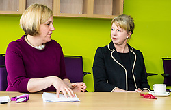 Pictured:  Hub Manager Fiona Wilson explained how the Multi-Agency Triage (MAT) center operated to Shona Robison  <br /> Under pressure Health Secretary Shona Robison visited the Healthy Living Centre in Edinburgh's Wester Hailes today and annnounced details of funding for nurse training to expand community care. <br /> <br /> Ger Harley   EEm 30 April 2018
