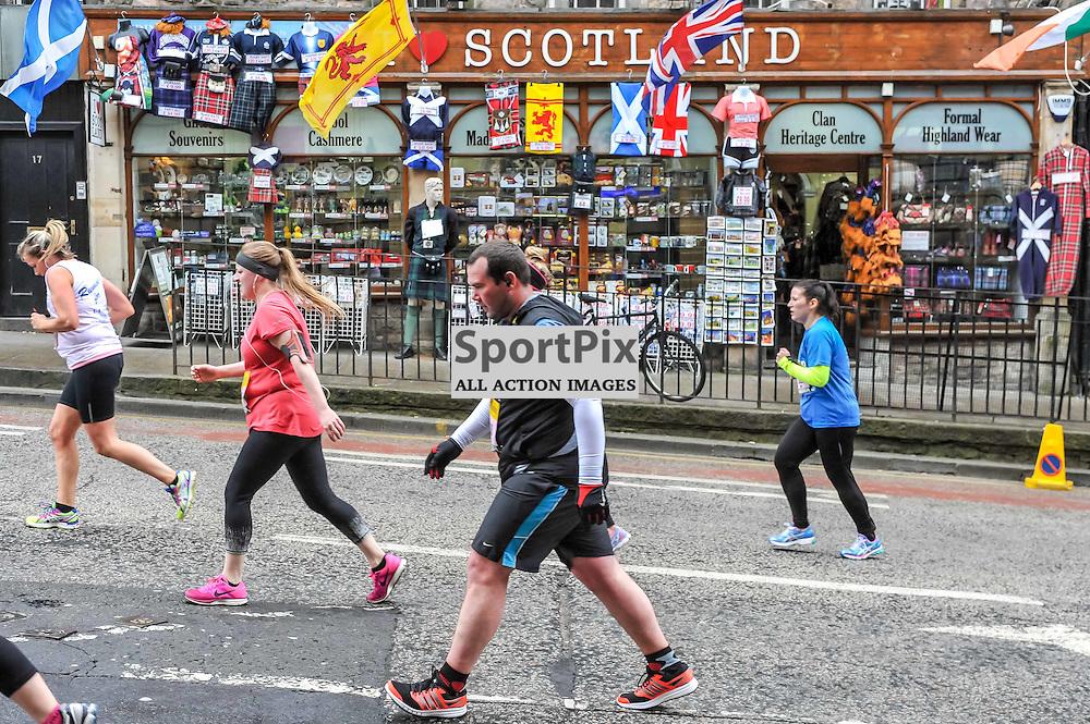 Competitors run and walk up The Mound during the Great Edinburgh Run. 19 April 2015. (c) Paul J Roberts / Sportpix.org.uk