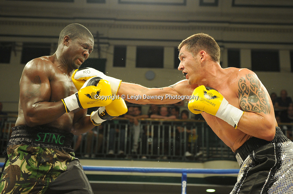 Tony Conquest defeats Hastings Rasani at York Hall, Bethnal Green, London on Friday 30th September 2011. Box Nation.tv's debut live TV Channel 456 on Sky. Photo credit: © Leigh Dawney. Queensberry Promotions.