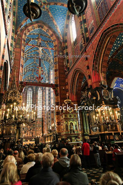 Interior of St Mary's church, Krakow, Poland