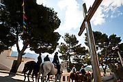 Sardegna, Italy. San Francesco di Lula (NU). Ultimo giorno della festa di San Francesco. I cavalieri tornano a Nuoro.