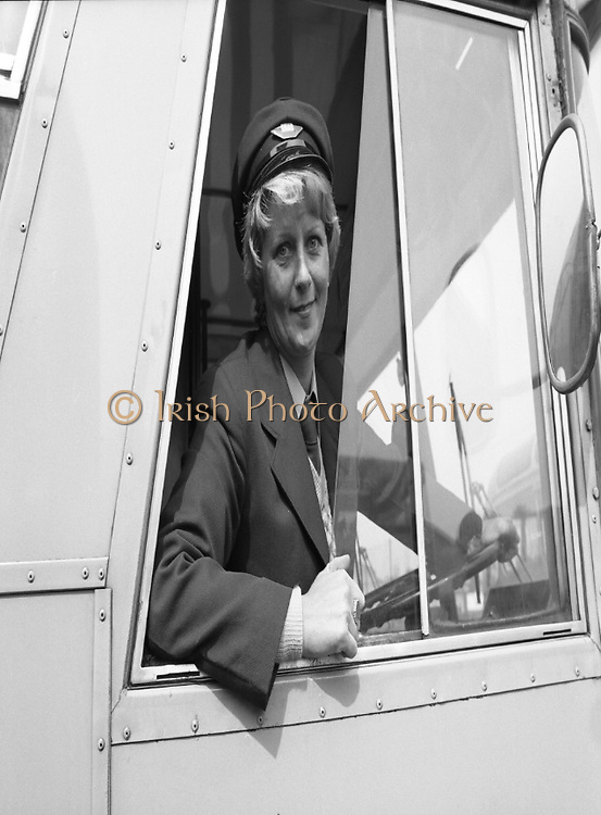 At the Wheel:..At the Wheel:..1980-05-02.2nd May 2012.02/05/1980.05-02-80..Photographed at Phibsborough Garage, Dublin...First Ever Woman CIE Dublin City Bus Driver, Joan Doran, 171 Ballyfermot Road, Dublin. Her first assignment is from Conyngham Road Garage on May 4. ..