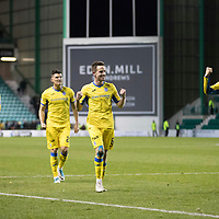 Hibs v St Johnstone…18.11.17…  Easter Road…  SPFL<br />The saints players celebrate at full time, from left, Steven Anderson, Joe Shaughnessy, Graham Cummins, Steven MacLean and Murray Davidson<br />Picture by Graeme Hart. <br />Copyright Perthshire Picture Agency<br />Tel: 01738 623350  Mobile: 07990 594431
