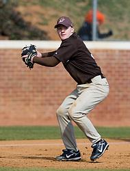 Lehigh infielder Brendan McGaheran (3).  The #17 ranked Virginia Cavaliers baseball team defeated the Lehigh Mountain Hawks 12-1 at the University of Virginia's Davenport Field in Charlottesville, VA on February 24, 2008.