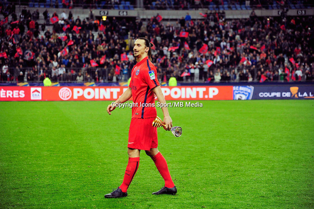 Victoire PSG / Zlatan IBRAHIMOVIC    - 11.04.2015 -  Bastia / PSG - Finale de la Coupe de la Ligue 2015<br />Photo : Dave Winter / Icon Sport