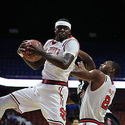 Durand Johnson, St. John's, rebounds during the St. John's vs South Carolina Men's College Basketball game in the Hall of Fame Shootout Tournament at Mohegan Sun Arena, Uncasville, Connecticut, USA. 22nd December 2015. Photo Tim Clayton