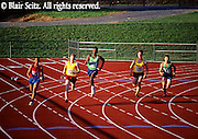 Outdoor recreation, Competitive Running, Track and Field, High School Runners, Competitors Round Track Curve