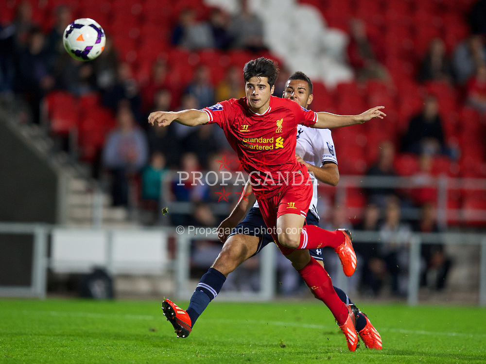 ST HELENS, ENGLAND - Monday, October 7, 2013: Liverpool's Joao Carlos Teixeira scores the fifth goal against Tottenham Hotspur during the Under 21 FA Premier League match at Langtree Park. (Pic by David Rawcliffe/Propaganda)