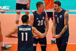 11-08-2019 NED: FIVB Tokyo Volleyball Qualification 2019 / Netherlands - USA, Rotterdam<br /> Final match pool B in hall Ahoy between Netherlands vs. United States (1-3) and Olympic ticket  for USA / David Smith #20 of USA, Matthew Anderson #1 of USA