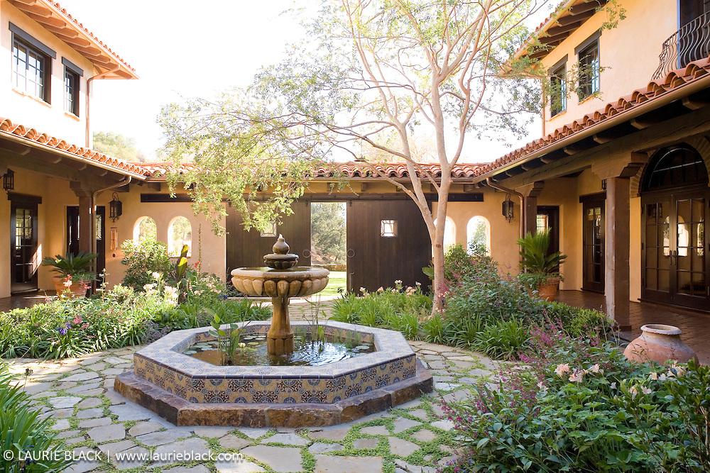 Spanish colonial interior courtyard garden