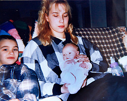 19 Jan,2006. Collect photograph. Happier days. Kim Mathers, wife of rapper Eminem and 10 day old daughter Hailie with Eminem's half brother Nathan (to left, 14 yrs younger than Eminem). Marshall Bruce Mathers III daughter at just ten days old. <br /> Photo Credit: Kresin via  www.varleypix.com