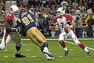 Arizona Cardinals quarterback Matt Leinart (7) drops back to pass against pressure from St. Louis defensive end Leonard Little (91) in the second half, at the Edward Jones Dome in St. Louis, Missouri, December 3, 2006.  The Cardinals beat the Rams 34-20.<br />