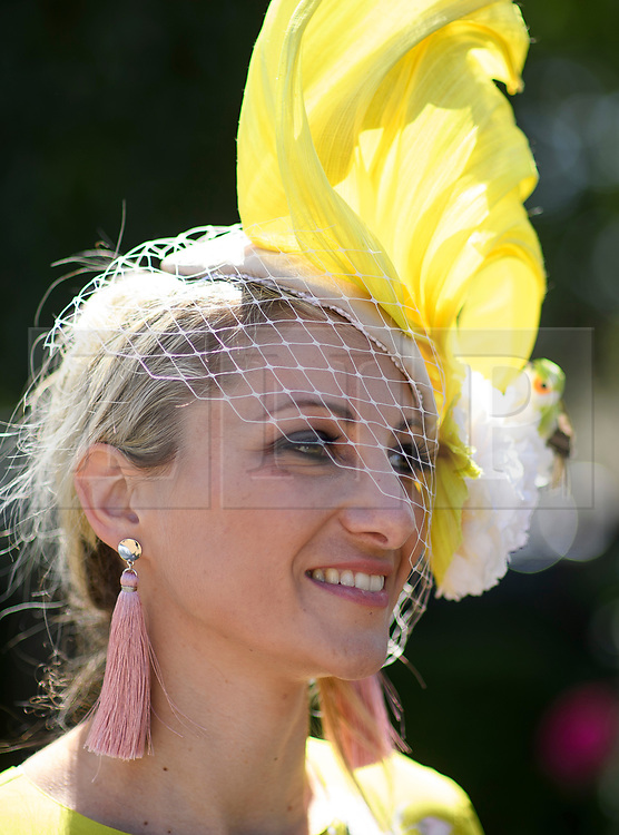 © Licensed to London News Pictures. 21/06/2018. London, UK. ANA PRIBYLOVA Ladies Day at Royal Ascot at Ascot racecourse in Berkshire, on June 21, 2018. The 5 day showcase event, which is one of the highlights of the racing calendar, has been held at the famous Berkshire course since 1711 and tradition is a hallmark of the meeting. Top hats and tails remain compulsory in parts of the course. Photo credit: Ben Cawthra/LNP