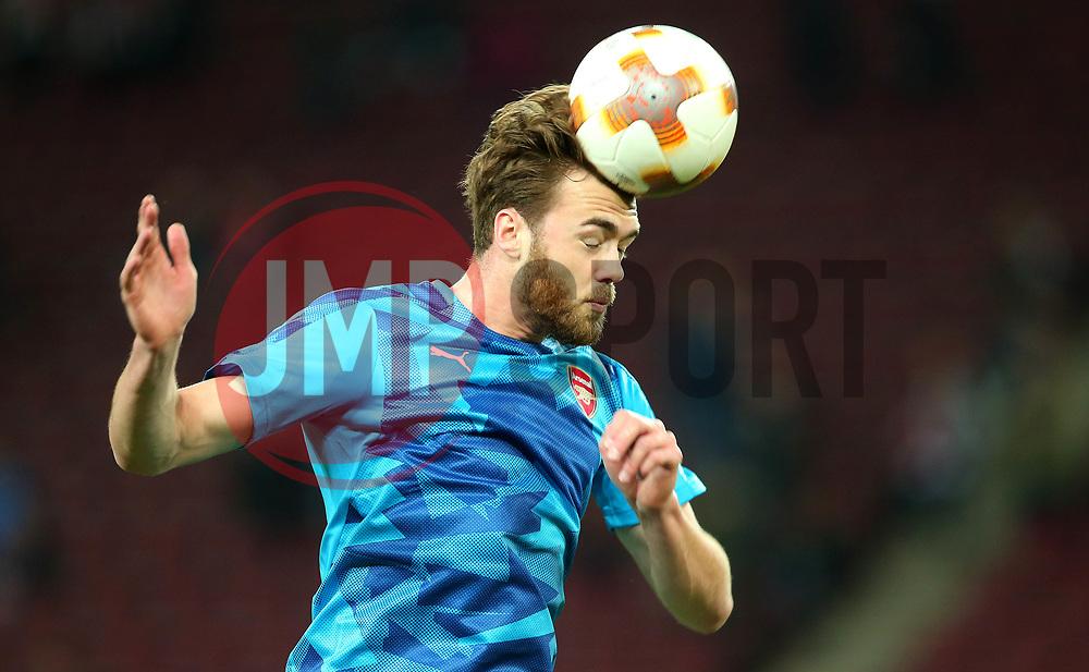 Calum Chambers of Arsenal heads the ball - Mandatory by-line: Robbie Stephenson/JMP - 23/11/2017 - FOOTBALL - RheinEnergieSTADION - Cologne,  - Cologne v Arsenal - UEFA Europa League Group H