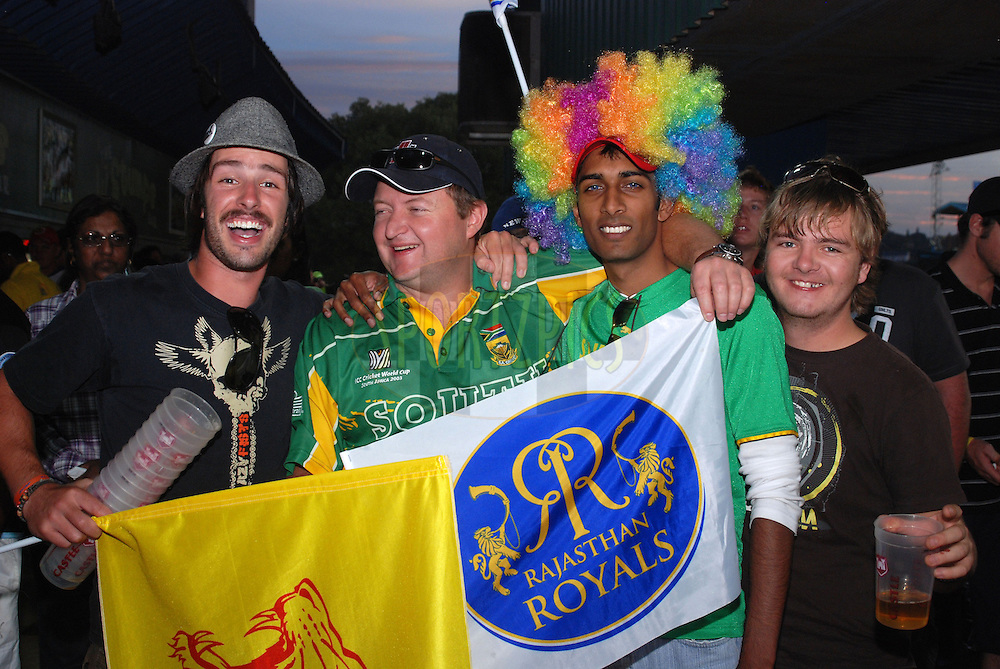 CENTURION, SOUTH AFRICA - 30 April 2009.  Funny hats and strange hairstyles were common during the IPL Season 2 match between the Rajasthan Royals and the Chennai Superkings held at Centurion, South Africa.