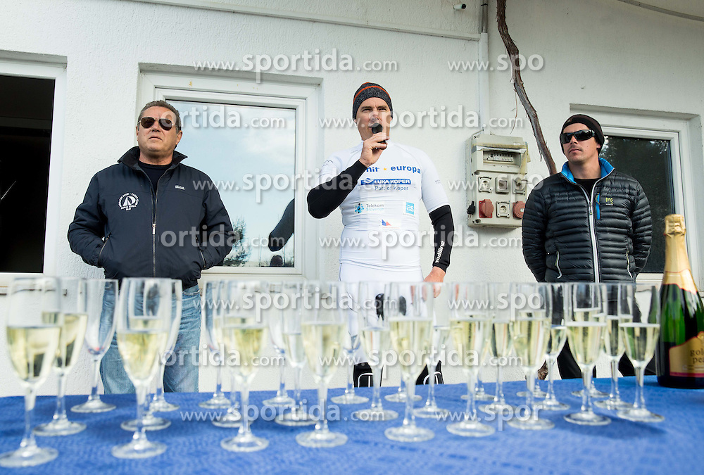 "Vasilij Zbogar of Slovenia, two times Olympic medalist in sailing (at picture with Father Stanislav and brother Jure) during christening of his new Finn class boat named ""Izola"" and ceremonial launching, on February 28, 2015 in Izola / Isola, Slovenia. Photo by Vid Ponikvar / Sportida"