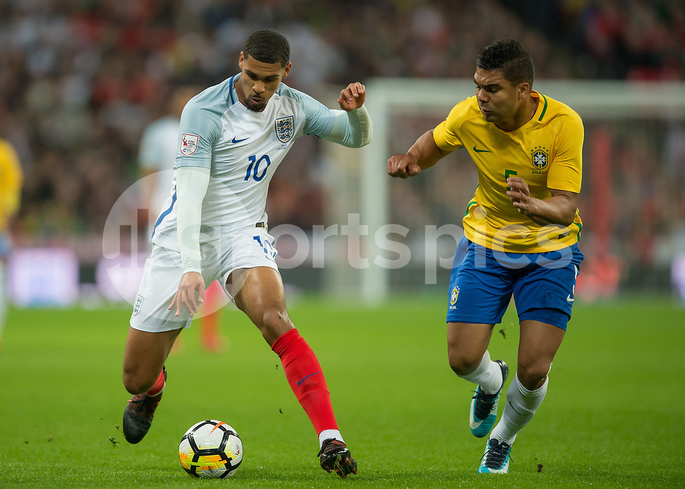 Ruben Loftus Cheek of England battles with Casemiro of Brazil during the International Friendly match between England and Brazil at Wembley Stadium, London, England on 14 November 2017. Photo by Vince Mignott.