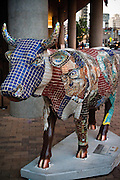 Texas Moosicians, a piece in CowParade by Mitch Brookman, at the W Hotel, Austin, Texas, July 31, 2010.  CowParade is considered to be the largest and most recognized public art event in the world. Starting July 2011, about 100 cows painted by local artists went on display throughout Austin.