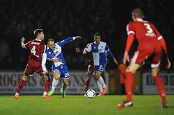 Bristol Rovers' Adam Dawson is fouled by Aldershot Town's Damon Lathrope - Photo mandatory by-line: Dougie Allward/JMP - Mobile: 07966 386802 - 20/03/2015 - SPORT - Football - England - Memorial Stadium - Bristol Rovers v Aldershot - Vanarama Football Conference