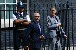 © Licensed to London News Pictures. 17/07/2018. London, UK. Home Secretary Sajid Javid (C) leaves 10 Downing Street after the Cabinet meeting. Photo credit: Rob Pinney/LNP