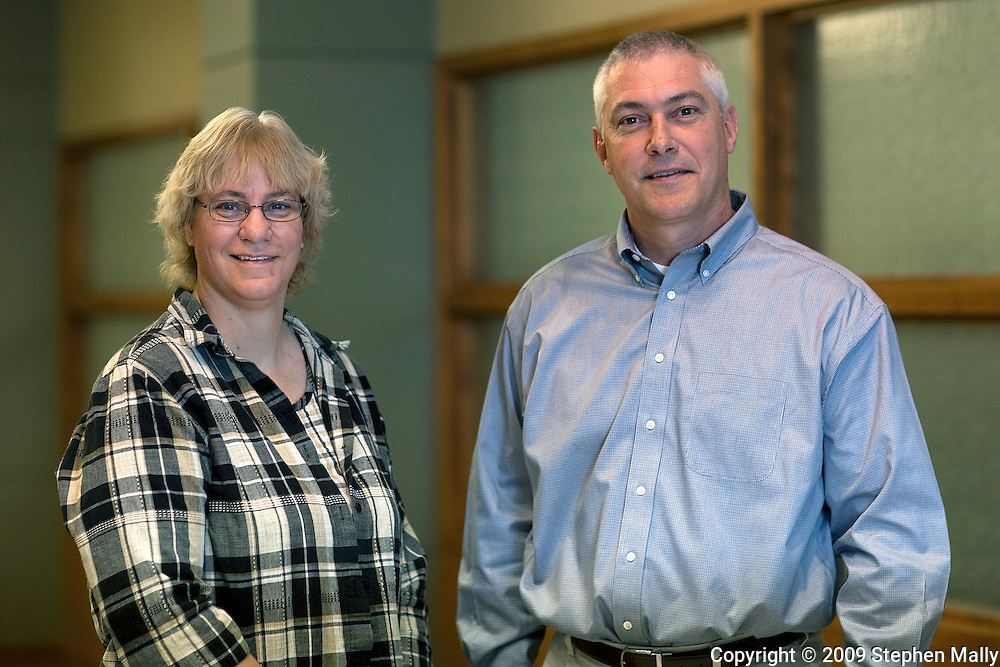 Lois Ohlendorf and Mike Daugherty (from left) at Principal Financial in Cedar Falls, Iowa on Thursday October 29, 2009
