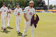 5 WICKETS Ben Raine leads the Durham team off the field at the end of the Specsavers County Champ Div 2 match between Leicestershire County Cricket Club and Durham County Cricket Club at the Fischer County Ground, Grace Road, Leicester, United Kingdom on 10 July 2019.