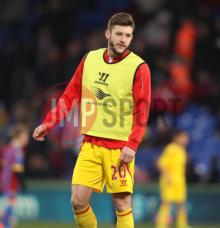 Liverpool's Adam Lallana warms up - Photo mandatory by-line: Robbie Stephenson/JMP - Mobile: 07966 386802 - 14/02/2015 - SPORT - Football - London - Selhurst Park - Crystal Palace v Liverpool - FA Cup - Fifth Round