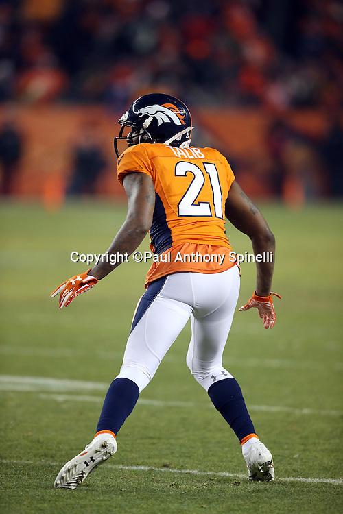 Denver Broncos cornerback Aqib Talib (21) jumps drops back in pass coverage during the 2015 NFL week 16 regular season football game against the Cincinnati Bengals on Monday, Dec. 28, 2015 in Denver. The Broncos won the game in overtime 20-17. (©Paul Anthony Spinelli)