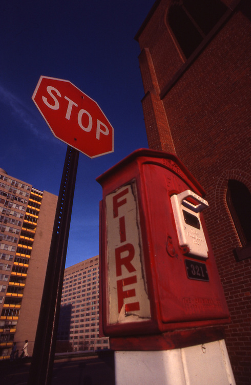 Antique Fire Call Box, Herr and 6th St., 1985, Harrisburg, Pennsylvania