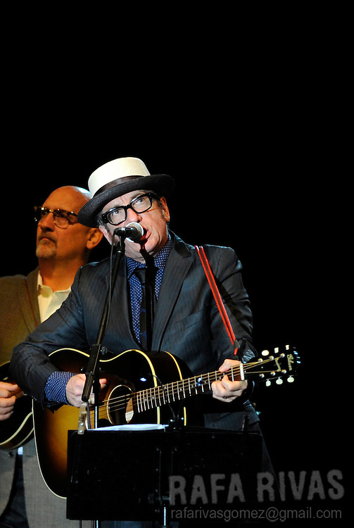 British rock musician Elvis Costello performs with The Sugarcanes during the 45 Jazzaldia festival, on July 25, 2010, in the Northern Spanish city of San Sebastian. Photo Rafa Rivas