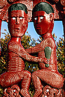 Maori wood carvings, New Zealand Maori Arts & Crafts Institute, Whakarewarewa Thermal Reserve, Rotorua, north island, New Zealand