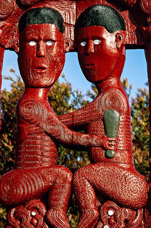 Maori wood carvings, New Zealand Maori Arts & Crafts Institute, Whakarewarewa Thermal Reserve, Rotorua, north island, New Zealand