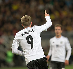 15.10.2013, Friends Arena, Stockholm, SWE, FIFA WM Qualifikation, Schweden vs Deutschland, Gruppe C, im Bild Germany 9 Andre Sch&uuml;rrle Schurrle score for Germany,, , Nyckelord , Keywords : football , fotboll , soccer , FIFA , World Cup , Qualification , Sweden , Sverige , Schweden , Germany , Tyskland , Deutschland // during the FIFA World Cup Qualifier Group C Match between Sweden and Germany at the Friends Arena, Stockholm, Sweden on 2013/10/15. EXPA Pictures &copy; 2013, PhotoCredit: EXPA/ PicAgency Skycam/ Ted Malm<br /> <br /> ***** ATTENTION - OUT OF SWE *****
