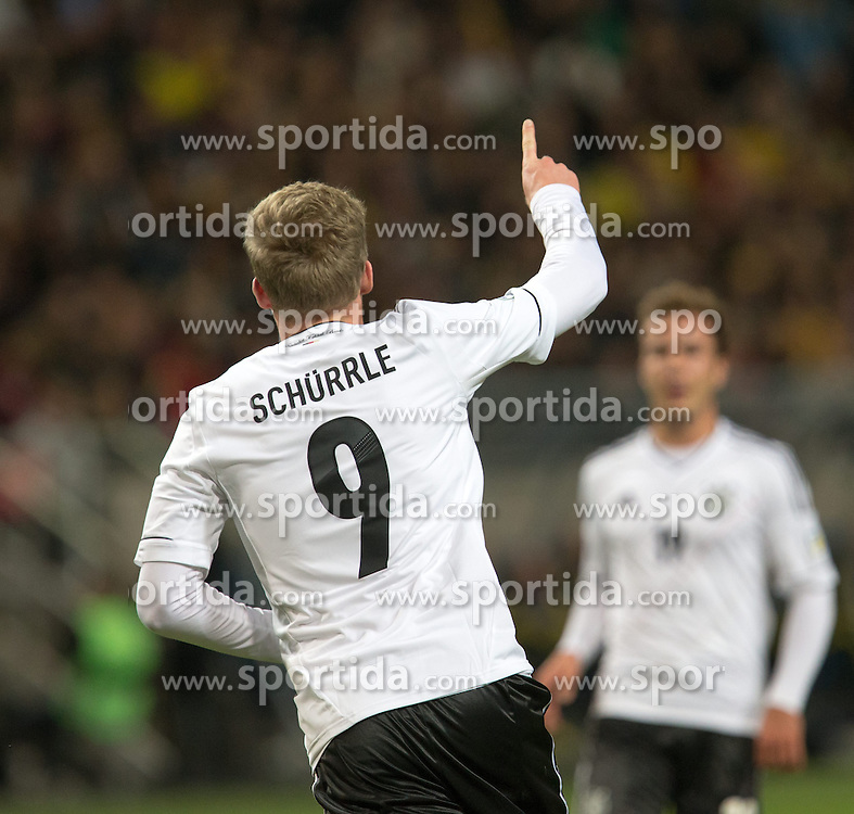 15.10.2013, Friends Arena, Stockholm, SWE, FIFA WM Qualifikation, Schweden vs Deutschland, Gruppe C, im Bild Germany 9 Andre Schürrle Schurrle score for Germany,, , Nyckelord , Keywords : football , fotboll , soccer , FIFA , World Cup , Qualification , Sweden , Sverige , Schweden , Germany , Tyskland , Deutschland // during the FIFA World Cup Qualifier Group C Match between Sweden and Germany at the Friends Arena, Stockholm, Sweden on 2013/10/15. EXPA Pictures © 2013, PhotoCredit: EXPA/ PicAgency Skycam/ Ted Malm<br /> <br /> ***** ATTENTION - OUT OF SWE *****