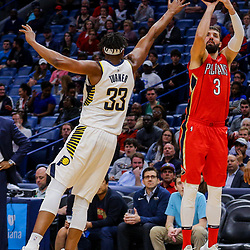 Mar 21, 2018; New Orleans, LA, USA; New Orleans Pelicans forward Nikola Mirotic (3) shoots over Indiana Pacers center Myles Turner (33) during the second half at the Smoothie King Center. The Pelicans defeated the Pacers 96-92. Mandatory Credit: Derick E. Hingle-USA TODAY Sports
