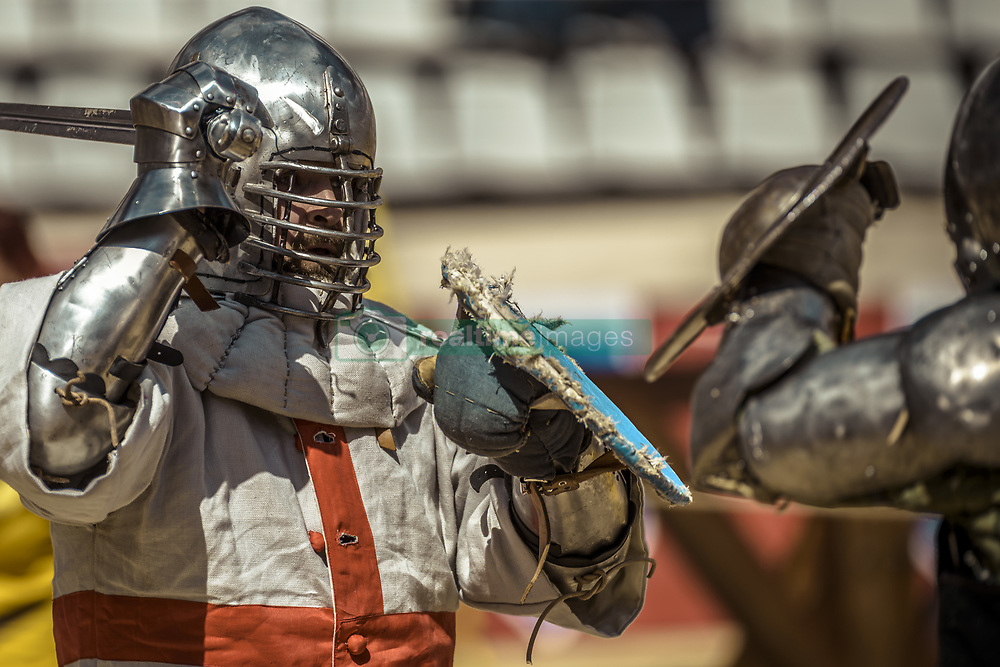 April 29, 2017 - Barcelona, Catalonia, Spain - Two would-be knights in their recreated historical armours take part in the sword-buckler full contact competition on day 1 of the World Championship in Historical Medieval Battles, 'Battle of the Nations', in Barcelona. (Credit Image: © Matthias Oesterle via ZUMA Wire)