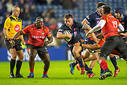 Rory Sutherland (#1) of Edinburgh Rugby charges at the Southern Kings defence during the Guinness Pro 14 2018_19 rugby match between Edinburgh Rugby and Isuzu Southern Kings at the BT Murrayfield Stadium, Edinburgh, Scotland on 5 January 2019.