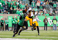 Nov 25, 2017; Huntington, WV, USA; Southern Miss Golden Eagles wide receiver Allenzae Staggers (15) catches a pass for a touchdown during the third quarter against the Marshall Thundering Herd at Joan C. Edwards Stadium. Mandatory Credit: Ben Queen-USA TODAY Sports