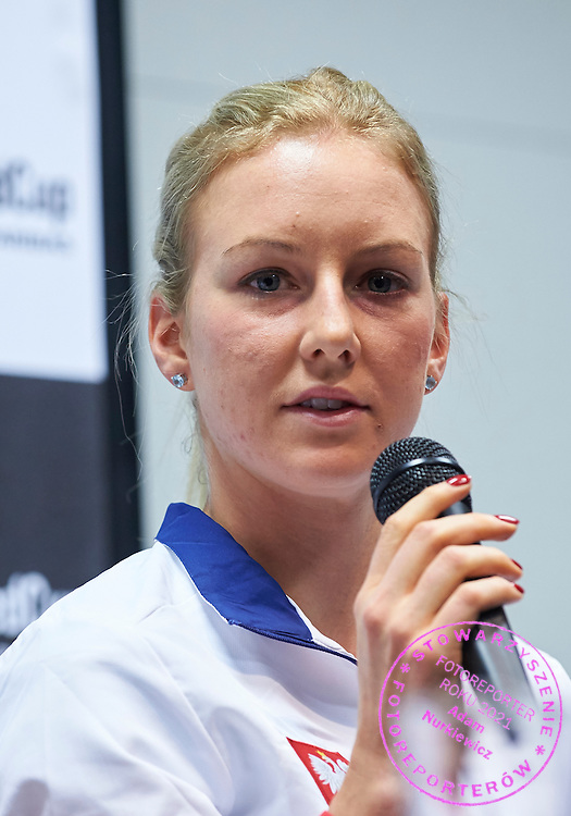 Urszula Radwanska from Poland speaks during official press conference three days before the Fed Cup / World Group 1st round tennis match between Poland and Russia at Krakow Arena on February 4, 2015 in Cracow, Poland<br /> Poland, Cracow, February 4, 2015<br /> <br /> Picture also available in RAW (NEF) or TIFF format on special request.<br /> <br /> For editorial use only. Any commercial or promotional use requires permission.<br /> <br /> Mandatory credit:<br /> Photo by &copy; Adam Nurkiewicz / Mediasport