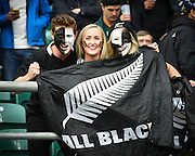 New Zealand fans during the Rugby World Cup Semi-Final match between South Africa and New Zealand at Twickenham, Richmond, United Kingdom on 24 October 2015. Photo by David Charbit.