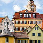 The picturesque architecture of T&uuml;bingen, Germany, including Stiftskirche and H&ouml;lderlinturm, the yellow tower where H&ouml;lderlin lived in utter seclusion. <br /> <br /> T&uuml;bingen is best described as a mixture of old and distinguished academic flair, including liberal and green politics on the one hand and traditional German-style student fraternities on the other, with rural-agricultural environs and shaped by typical Lutheran-Pietist characteristics, such as austerity and a Protestant work ethic, and traditional Swabian elements, such as frugality, order and tidiness. The city is home to many picturesque buildings from previous centuries and lies on the river Neckar.<br /> <br /> According to a national survey, T&uuml;bingen has the highest quality of life of all cities in Germany.