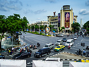 23 AUGUST 2017 - BANGKOK, THAILAND: A portrait of Maha Vajiralongkorn Bodindradebayavarangkun, the King of Thailand, looks down on an intersection in Bangkok. The King, the only son of Bhumibol Adulyadej, the Late King of Thailand, has been reigning as King of Thailand since shortly after his father's death on 13 October 2017. His formal coronation ceremony is expected to be in late 2017, after his father's cremation on 26 October 2017.      PHOTO BY JACK KURTZ