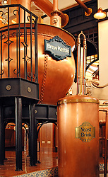 old-fashoned Brewery of copper showing the kettle and yeast brink.